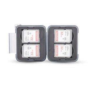 PROfezzion Boîtier de Rangement en Plastique résistant à l'eau pour 4 Cartes SD SDHC SDXC avec Mousqueton avec chaîne Courte