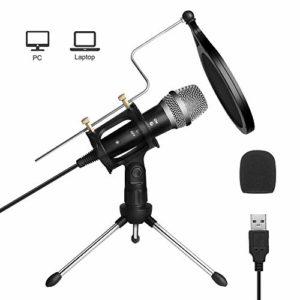 ARCHEER Microphone PC USB, Micro PC USB avec Support de Pied Micro Professionnel à Condensateur pour PC Ordinateur Portable Podcasting Chant Youtube Skype Jeux Video – Noir