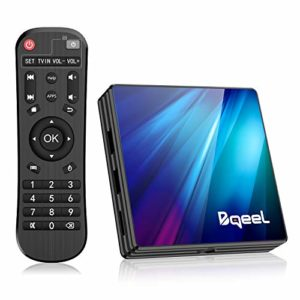 Bqeel Android 9.0 【4G+64G】 TV Box Bluetooth 4.0 R1 Plus RK3318 Quad-Core 64bit Cortex-A53 USB 3.0 Box Android TV LAN100M Wi-FI 2.4G/5G Box TV 4K Android TV