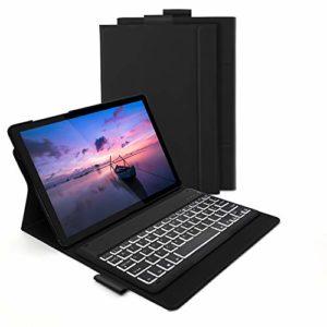 Jelly Comb Clavier Bluetooth avec Étui de Protection Clavier Rétroéclairé AZERTY Rechargeable avec 7 Couleurs Éclairage pour Tablette Samsung Tab S5E – Noir