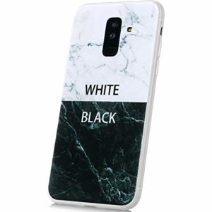 JAWSEU Compatible avec Coque Samsung Galaxy A6 Plus 2018 Silicone TPU Souple Housse Étui Full Protection Shell Avancé Marbre Motif Anti-Rayures Coque Transparente Silicone Bumper Case Anti-Scrach,#4