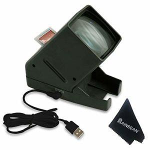 RAINBEAN Visionneuse de Film Diapositive 35 mm, visualisation de négatif sur Le Dessus de Bureau Portable à LED – grossissement 3X, Costume pour 2 * 2 Diapositives pour négatifs de Film positifs