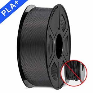 3D Printer Filament, PLA plus Filament 1.75mm, 3D Printer Filament PLA+, 1KG Black…