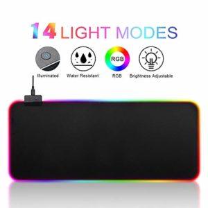 FAGORY RGB Tapis de Souris Gaming Surdimensionné LED Lumineuse Tapis de Souris, 14 RGB Mode d'éclairage, Imperméable et antidérapant, Texturée Résistant à Usure Lavable (800x300x4mm)