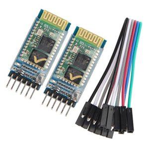 Haljia 2pcs HC-05Série sans fil Bluetooth émetteur-récepteur RF Pass-Through Communication module RS232Maître esclave