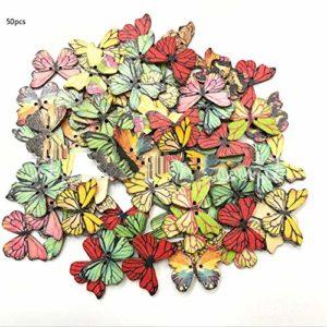 Peanutaoc Dessin animé Couleur Primaire Bouton Papillon rétro vêtements Mignons Bouton Papillon Ornement Papillon Bouton en Bois
