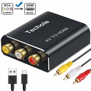 RCA vers HDMI Adaptateur Aluminium, Techole 3RCA Composite AV vers HDMI Convertisseur Prise en Charge 1080P avec AV Câble et USB Câble pour PC/Nintendo/Xbox/PS4/PS3/TV/STB/VHS/DVD/Camera/Wii
