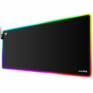 VicTsing Tapis de Souris Gaming avec Rétroéclairage RGB – Mousepad Etendu, Tapis Étanche Large de Clavier Gamer avec Bord Cousu, en Caoutchouc Antidérapant pour Ordinateur Portable, PC