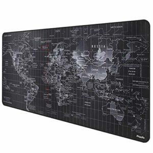 Anpollo Tapis de Souris XL (900x400x3mm) Multifonction Gaming Mousepad XXL Grand sous Main Bureau Anti-Glissant Surface Texturée pour Ordinateur Bureau Gamer Map Monde