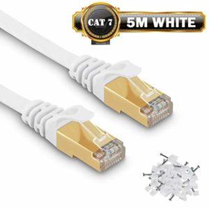Câble Ethernet 5 M Cat7 Câble réseau Plat Haut Débit Blindé RJ45 10Gbps 750MHz SFTP 8P8C Câbles de Connexion Patch pour Routeur/PC/Consoles de Jeux Vidéo/ADSL – 5 Mètres Blanc – avec des Cordon Clips