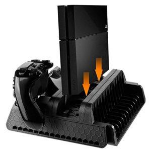 elegantstunning Support Vertical avec Ventilateur de Refroidissement et Deux contrôleurs Station de Recharge pour PS4/PS4Fin/PS4Pro