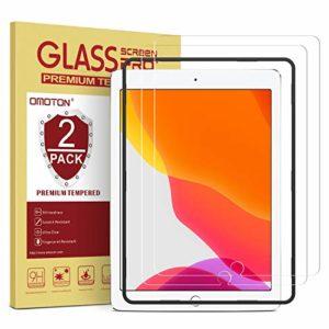 OMOTON [Lot de 2 Verre Trempé Compatible avec iPad 10.2″ 2019 7ème Génération/iPad 10.5″ Kit d'Installation Offert Film Protection Ecran [Haute Définition], Facile Installation [9H Dureté]