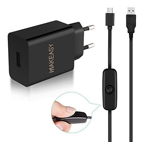 MAKEASY Chargeur 5V 3A Raspberry Pi Adaptateur Universel Charge Câble Micro USB de 1.5m avec Interrupteur d'alimentation pour Raspberry Pi 3 Model B+, Pi 3 Modèle B, Pi 2, Huawei, Nexus, Noir