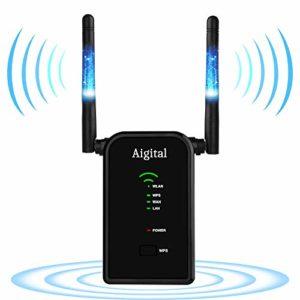 Aigital Répéteur WiFi 300Mbps Routeur Point d'accès Wi-FI Extenseur sans Fil Amplificateur de Signal Extender Compatible avec Toutes Les Box Internet,2 Port Ethernet, Installation Facile, WPS