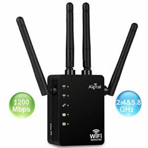 Aigital Répéteur WiFi Amplificateur WiFi AC1200Mbps, (5GHz 867Mbps +2.4GHz 300Mbps) Double Bande Extenseur sans Fil Booster, 2 Ports, WPS, 4 antennes externes, Compatible avec Toutes Les Box Internet