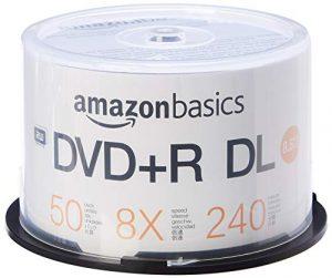AmazonBasics Boîtier avec axe de 50 DVD+R DL 8x 8,5 Go