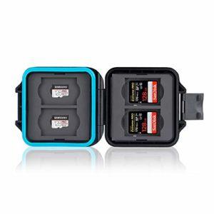 Ares Foto® Étui de protection pour carte mémoire • Étui pour carte mémoire • Étui pour cartes • Étui pour 4 cartes SD et 4 cartes Micro SD et Sim • Comprend un cordon de transport et une aiguille sim