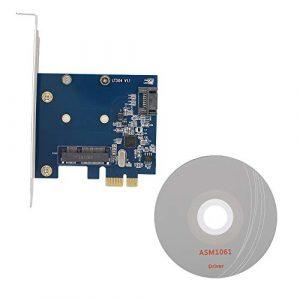 ASHATA Carte d'extension PCIe, Adaptateur de Carte d'extension de Bureau PCI-E à MSATA + SATA3.0 SSD Solid State Drive Riser Card, Prise en Charge du Swag à Chaud SATA, Plug and Play