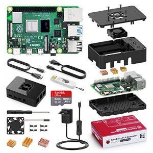 Bqeel Raspberry Pi 4 Modèle B, 4Go RAM+32 Go Classe 10 Micro SD Carte, 5V 3A Alimentation Interrupteur Marche/Arrêt, Ventilateur, Dissipateur, Boîtier Noir, Lecteur de Carte, Câble HDMI