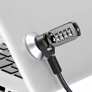 CaLeQi Câble verrou de sécurité pour Ordinateur Portable, PC et écran avec Combinaison – câble Noir de 2 m (Serrure d'ordinateur + Serrure Ronde)
