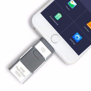 Clé USB externe i-Flash 3en 1OTG – Pour iPhone 8 / 7 / 6 / 6S / 5 / iPad et téléphones Samsung 128 Go Silver