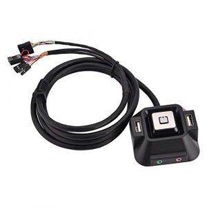 Commutateur de PC de bureau, commutateur de boîtier de PC de bureau Bouton de réinitialisation d'alimentation USB double Port de microphone audio avec une interface audio et une interface de microphon