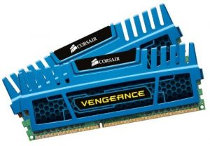 Corsair CMZ16GX3M2A1600C10B Vengeance 16GB (2x8GB) DDR3 1600 Mhz CL10 Mémoire pour ordinateur de bureau performante avec profil XMP. Bleu