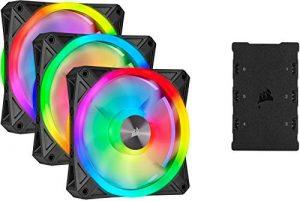 Corsair iCUE QL120 RGB, Ventilateur LED RGB PWM 120 mm (102 LED RGB Paramétrables Individuellement, Allant jusqu'à 1 500 TR/Min, Faible Bruit) Lot de Trois Ventilateurs avec Lighting Node CORE – Noir