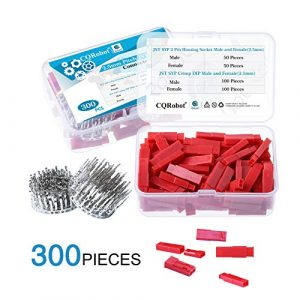 CQRobot 300 Pieces 2.5mm Pitch JST-SYP JST Connector Kit. 2.5mm Pitch Male and Female Pin Header, JST SYP – 2 Pin Housing JST Adapter Cable Connector Socket Male and Female, Crimp Dip Kit.