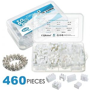 CQRobot 460 Pieces 2.54mm JST-XH JST Connector Kit. 2.54mm Pitch Female Pin Header, JST XH – 2/3 / 4 Pin Housing JST Adapter Cable Connector Socket Male and Female, Crimp Dip Kit.