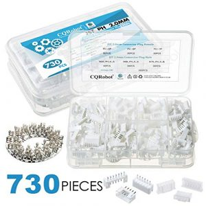 CQRobot 730 Pieces 2.0mm JST-PH JST Connector Kit. 2.0mm Pitch Female Pin Header, JST PH – 5/6 / 7 Pin Housing JST Adapter Cable Connector Socket Male and Female, Crimp Dip Kit.