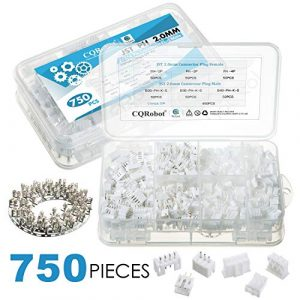 CQRobot 750 Pieces 2.0mm JST-PH JST Connector Kit. 2.0mm Pitch Female Pin Header, JST PH – 2/3 / 4 Pin Housing JST Adapter Cable Connector Socket Male and Female, Crimp Dip Kit.