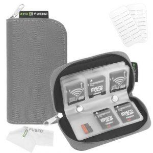 Étui de Transport pour Carte mémoire – Adapté pour Cartes SD et SDHC – 8 Pages et 22 logements – Chiffon de Nettoyage en Micro-Fibre ECO-FUSED