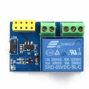 Fantasyworld AY94ESP8266 ESP-01S 5V WiFi Module de Relais Commutateur à Distance Switch APP Kit de Conception de Projet Intelligent Socket pour Arduino – Bleu
