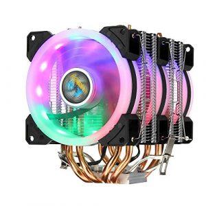 HLW Sports Ventilateur de Refroidissement Ordinateur Coloré rétro 3 Ventilateurs 3Pin 4 Copper Tube CPU Double Tour de Refroidissement du Ventilateur Cooler Dissipateur Compatible avec Intel AMD
