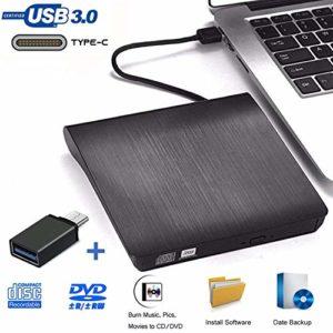iAmotus Lecteur CD DVD Externe, Graveur DVD Externe Portable USB 3.0 Type C Dual Port Lecteur de CD Externe +/-RW ROM Player Slim Ultra Compatible Windows7/8/10 / Vista/Linux/Mac OS/Lapto/Desktops/PC