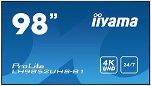 iiyama Prolite LH9852UHS-B1 Écran numérique LED S-IPS 4K UHD 24/7 Ultra Slim (VGA, Component Video, RCA Composite, HDMI x3, DisplayPort, USB, RS232, RJ45 LAN,IR, OPS-Slot) Noir