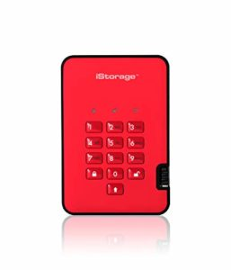 iStorage diskAshur2 256 Bits 8 to USB 3.1 Secure encrypted Solid-State Drive – Red IS-DA2-256-SSD-8000-R