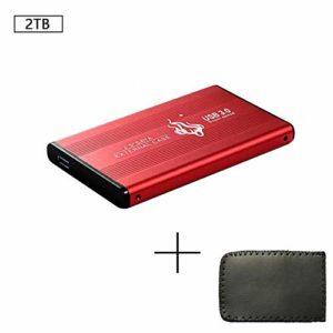 Jakovie 2.5 Pouces Disque Dur Mobile Transfert Rapide de SSD SSD Mobile Haut débit Disque Dur Externe pour PC Portable 2 to Rouge
