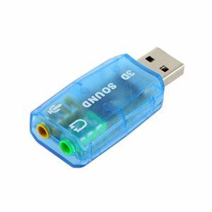 Kaemma Portable Compact Carte Audio 3D USB 1.1 Adaptateur Micro/Haut-Parleur 7.1 canaux Son Surround pour Ordinateur Portable PC(Color:Blue)