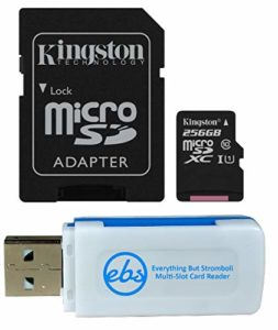Kingston 256GB SDXC Micro Canvas Select Memory Card and Adapter Bundle Works with Samsung Galaxy A10, A20, A70 Cell Phone (SDCS/256GB) Plus 1 Everything But Stromboli (TM) MicroSD and SD Card Reader