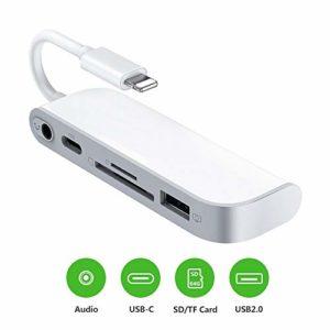 Lecteur de carte SD TF, Adaptateur de Lecteur de Carte 5 en 1 avec 1 interface OTG USB 2.0, lecteur de carte SD/TF, 1 port PD, audio jack 3,5 mm pour téléphone/pad, aucune application nécessaire.