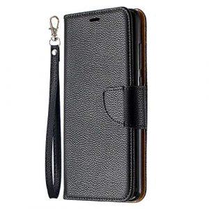 Lomogo Coque Xiaomi Redmi Note 8 Pro Portefeuille, Housse en Cuir avec Porte Carte Fermeture par Rabat Aimanté Antichoc Étui Case pour Xiaomi Redmi Note8 Pro – LOBFE130599 Noir