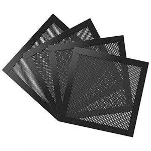 MoKo 140mm Filtre de Ventilateur Anti-Poussière PVC pour Ordinateur (4 Pièces), Ventilation Réseau PC avec Cadre Magnétique, Aimant – Noir