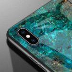MoreChioce Coque Galaxy A9 2018 Marbre Silicone Anti-Rayures Housse Protecteur Marble Paillette Strass Dur Verre PC Rigid Cover Antichoc Bumper compatible avec Samsung Galaxy A9 2018,Marbre Vert