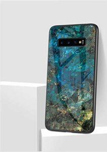 MoreChioce Coque Galaxy S10 Plus Marbre Silicone Anti-Rayures Housse Protecteur Marble Paillette Strass Dur Verre PC Rigid Cover Antichoc Bumper compatible avec Samsung Galaxy S10 Plus,Marbre Vert