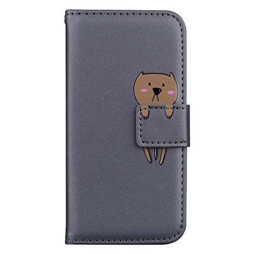 MoreChioce Coque iPhone 11 Etui avec Rabat Kawaii Panda Chat Housse à Clapet Antichoc Portefeuille Protective Flip Case Magnétique Aimantée Supporter compatible avec iPhone 11,Ours Gris