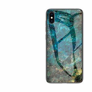 MoreChioce Coque iPhone XS Max Marbre Silicone Anti-Rayures Housse Protecteur Marble Transparente Paillette Strass Dur Verre PC Rigid Cover Antichoc Bumper compatible avec iPhone XS Max,Marbre Vert