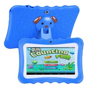 Naliovker Tablette pour Enfants, écran HD 7 Pouces avec étui en Silicone (Quad Core, 8 Go, WiFi, Appareil Photo Avant Et Arrière, Store, Youtube, Android 4.4, Iwawa) (Bleu)