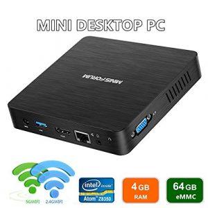 Nouvelle Version du Z83-F Mini PC 4K/4GB/64GB, Processeur Intel Atom X5-Z8350, Windows 10 Pro préinstallé, Ports HDMI et VGA, Ethernet 1000Mbps, Wi-FI 2.4 GHz / 5.8 GHz, allumage Automatique